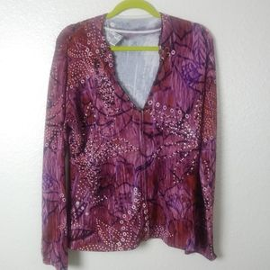 Alberto Makali Pink Beaded Zip Cardigan. XL